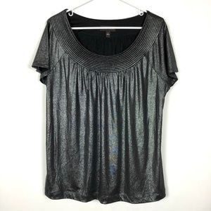 Dana Buchman Shirt Platinum Short Sleeve Metallic